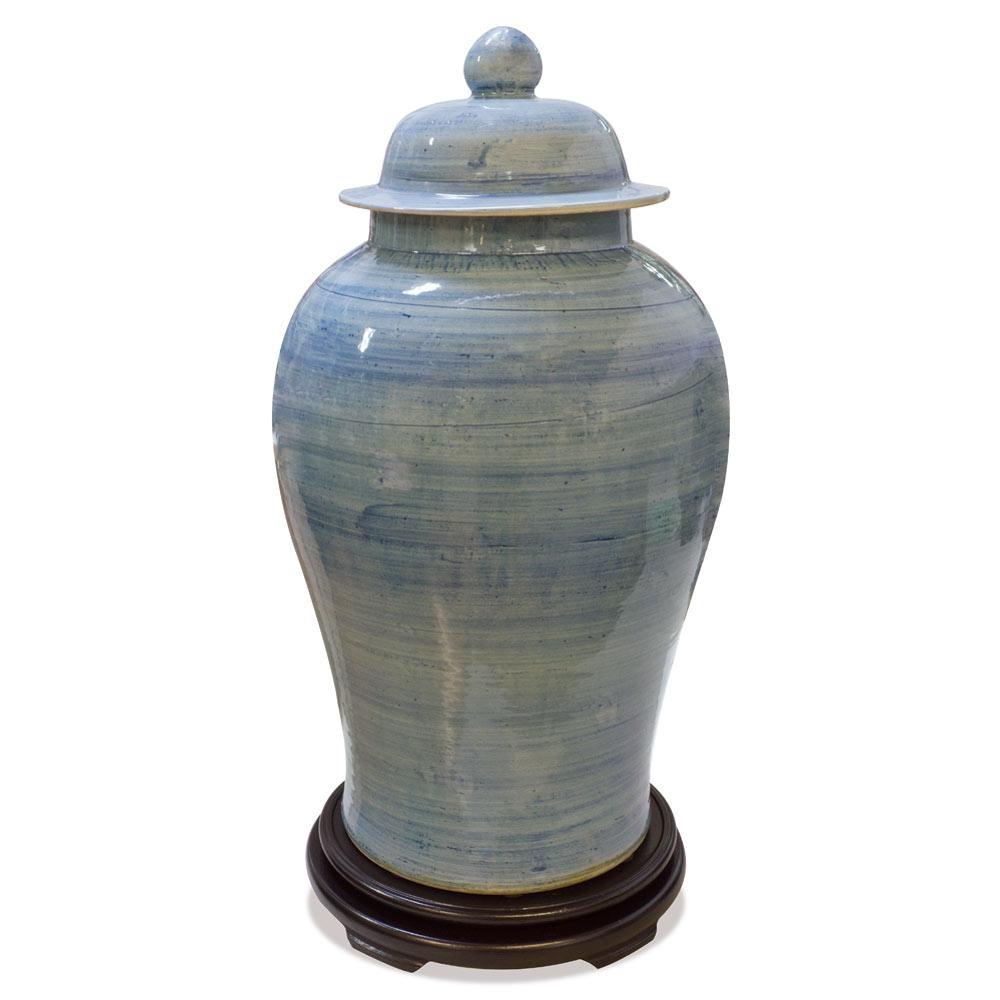 Lightly Brushed Porcelain Qing Oriental Ginger Jar