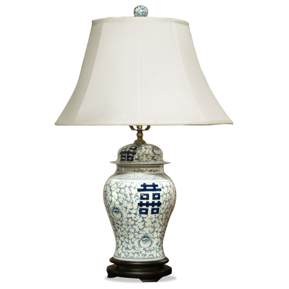 Blue and White Chinese Double Happiness Porcelain Lamp