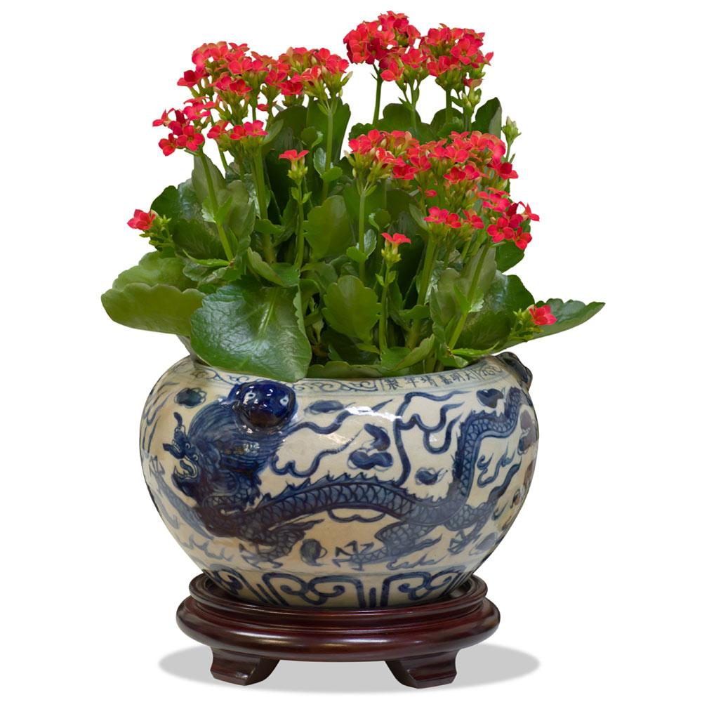 Blue and White Porcelain Double Dragon Asian Planter