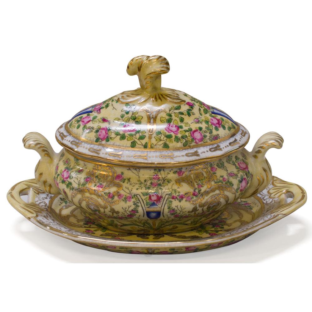 Famille Jaune Motif Oriental Lidded Jar