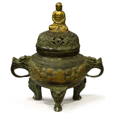 Bronze Imperial Buddha Chinese Incense Burner