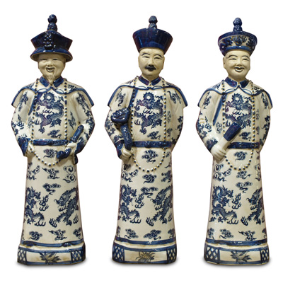 Blue and White Porcelain Qing Emperor Chinese Figurine Set