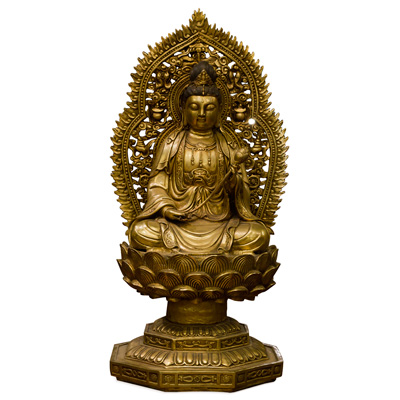 Bronze Guanyin Asian Statue with Lotus