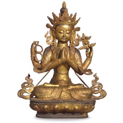 Bronze Tibetan Sitting Buddha Statue