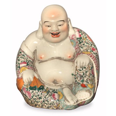 Porcelain Happy Buddha Asian Figurine in Floral Robe
