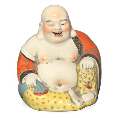 Porcelain Happy Buddha Asian Figurine in Orange and Black Robe