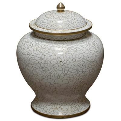 White Peony Flower Motif Oriental Cloisonne Jar