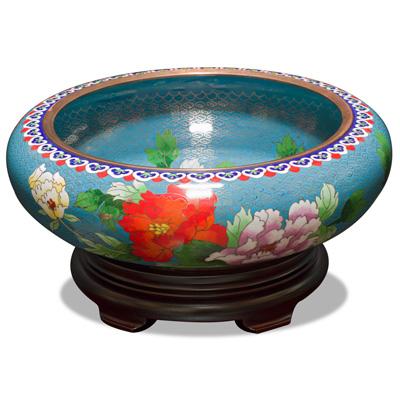 Blue Bird and Flower Motif Oriental Cloisonne Bowl