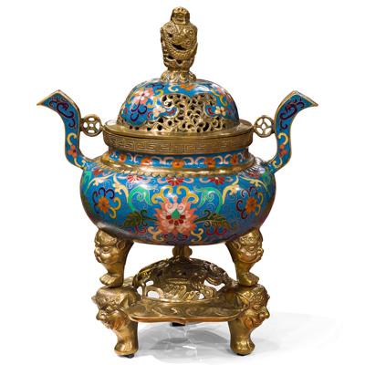 Vintage Royal Blue Oriental Cloisonne Incense Burner