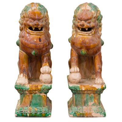 Tang Tri-Color Glazed Ceramic Chinese Foo Dog Set