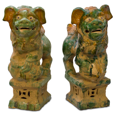 Tang Tri-Color Glazed Ceramic Chinese Foo Dog Set