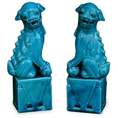 Blue Porcelain Chinese Foo Dog Set