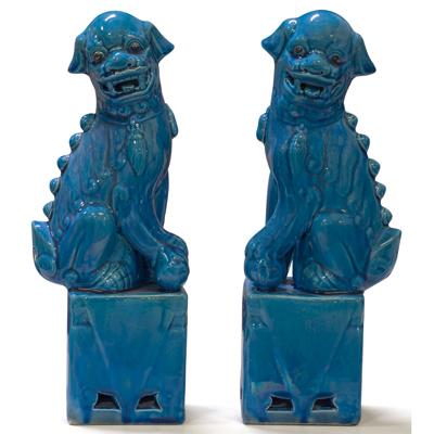 Dark Blue Porcelain Foo Dog Chinese Figurine Set
