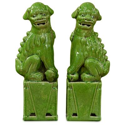 Lime Green Porcelain Chinese Foo Dog Set