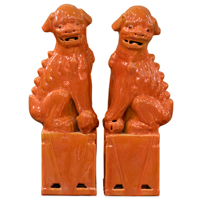 Orange Porcelain Foo Dog Oriental Figurine Set