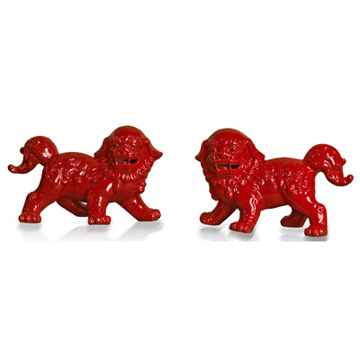 Red Porcelain Standing Chinese Foo Dog Set