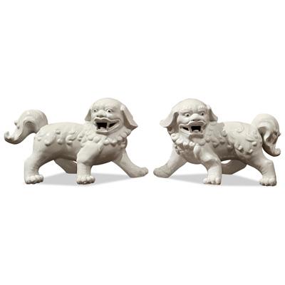 Off-White Porcelain Chinese Foo Dog Set