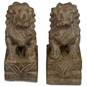 10 Inch Stone Chinese Foo Dog Statue Set