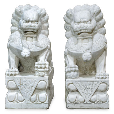 Grand Marble Imperial Palace Foo Dog Oriental Statue Set
