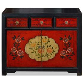 Elmwood Floral Motif Tibetan Cabinet