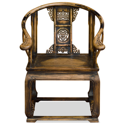 Distressed Elmwood Ming Imperial Palace Chinese Arm Chair