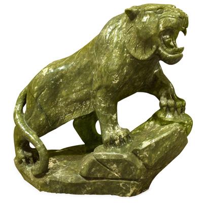 Large Oriental Jade Tiger Sculpture