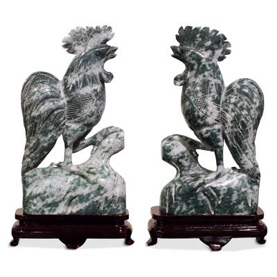 Oriental Jade Rooster Set