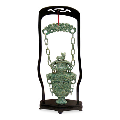 Oriental Jade Vessel With Chain
