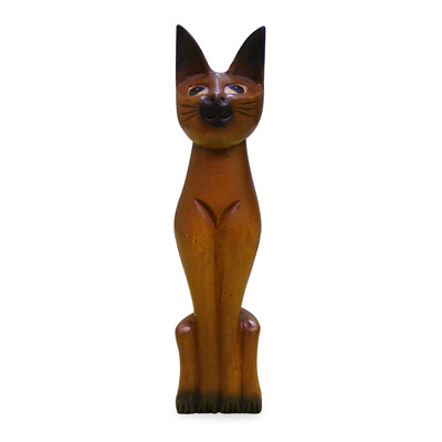Solid Teakwood Standing Cat Asian Figurine