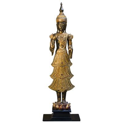 Gilded Teak Wood Standing Thai Buddha Statue