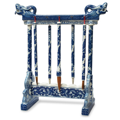 Blue and White Porcelain Chinese Calligraphy Set