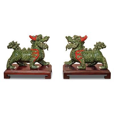Green Porcelain Regal Kirin Oriental Figurine Set