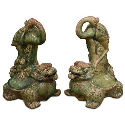 Porcelain Turtle Dragon and Crane Oriental Figurine Set