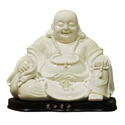 White Porcelain Happy Buddha with Stand