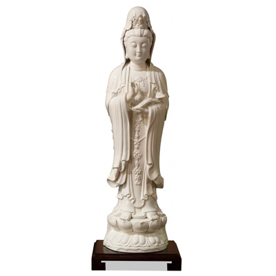 Porcelain Guanyin Oriental Figurine Holding Ruyi Scepter