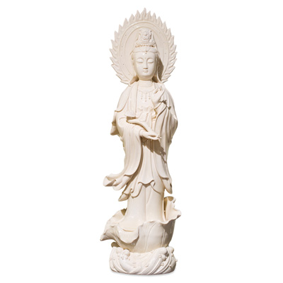 White Porcelain God of Mercy Asian Statue
