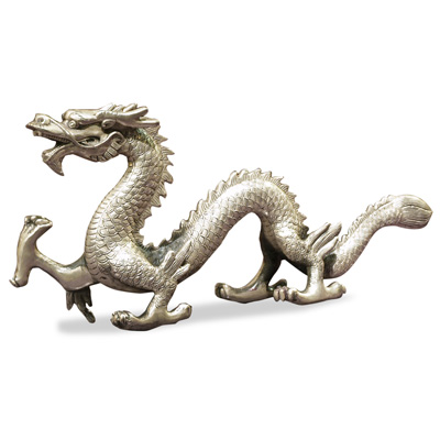 Silver Plated Prosperity Dragon Asian Figurine