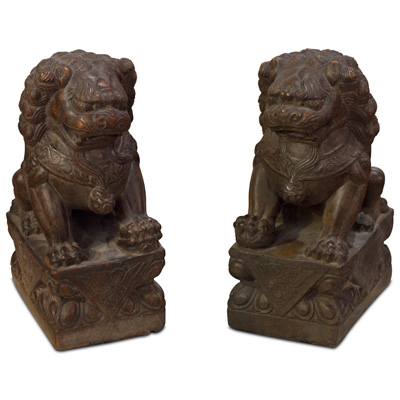 Stone Chinese Foo Dog Set