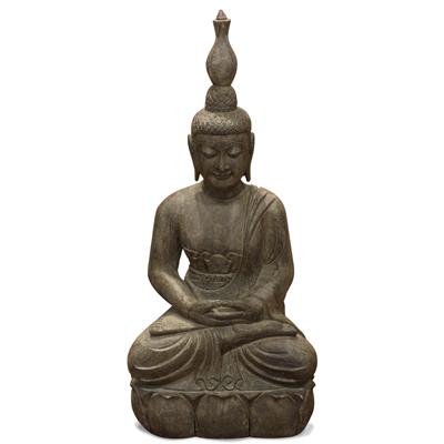 Stone Meditating Thai Buddha Statue