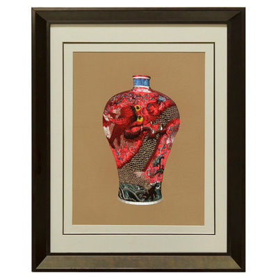 Chinese Silk Embroidery of Red Imperial Dragon Vase