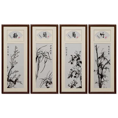 Chinese Silk Embroidery of Monochrome Four Season Flowers