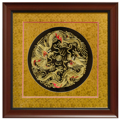 Chinese Silk Embroidery of Double Imperial Dragons
