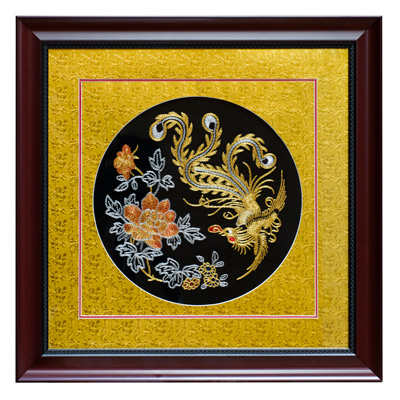 Chinese Silk Embroidery of Golden Pheonix