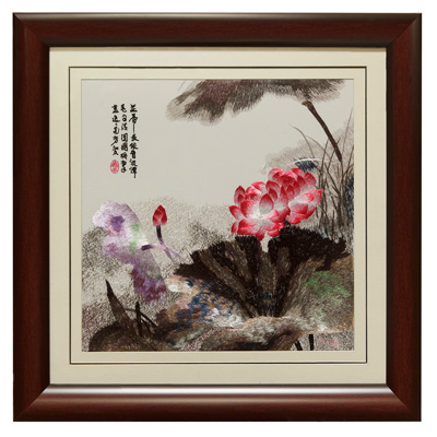 Chinese Silk Embroidery of Pink Lotus and Poetry