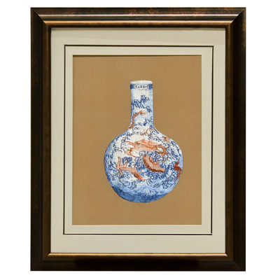 Chinese Silk Embroidery of Imperial Dragon Temple Vase