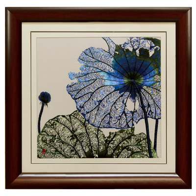 Chinese Silk Embroidery of Blue Lotus Flower
