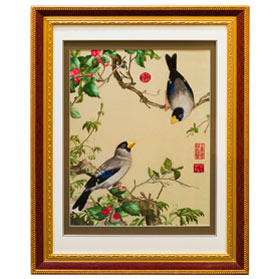 Chinese Silk Embroidery of Berries and Finches
