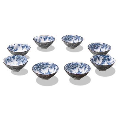 Blue and White Porcelain Tea Cup Set