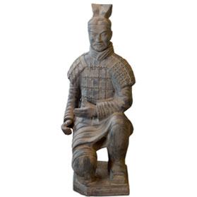 36 Inch Terracotta Kneeling Archer Warrior
