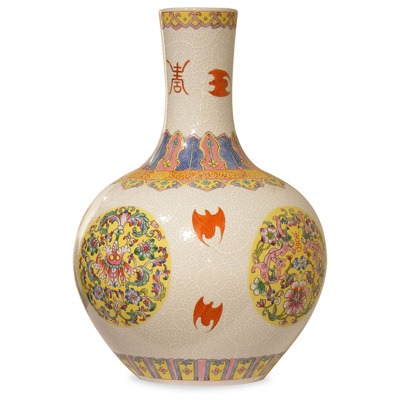 Porcelain Imperial Flower Chinese Temple Vase